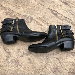 7 Shoemint Black Ankle Boots w/ Gold Buckles